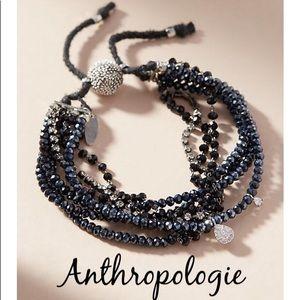 NWT ANTHRO Shine Bright Black Glass BeadS Bracelet